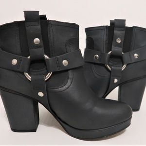 Topshop Shoes - Topshop Harness Strap Black Leather Booties - 8.5